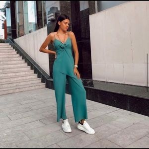 NWT Zara teal green faux wrap jumpsuit
